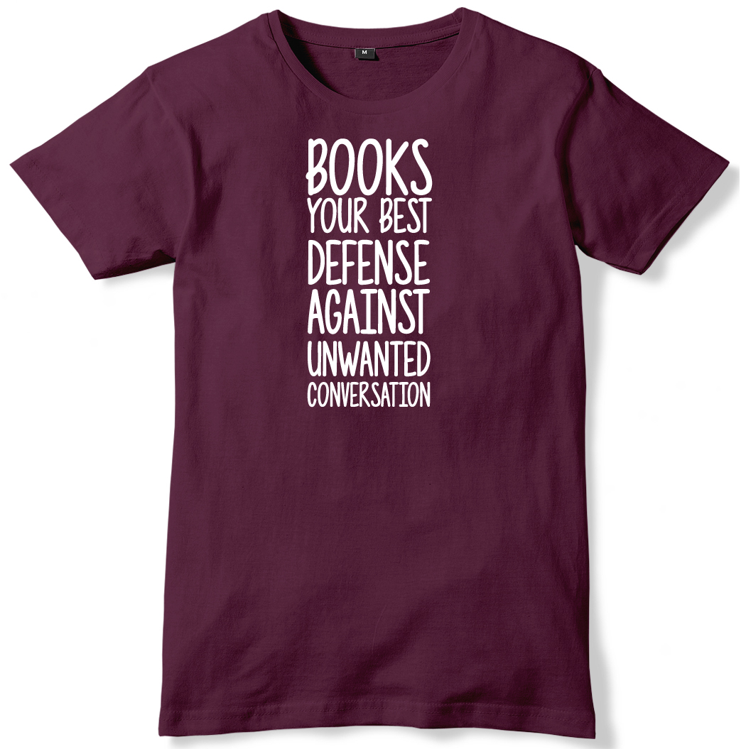 Books-Your-Best-Defense-Against-Unwanted-Conversation-Mens-Funny-Unisex-T-Shirt
